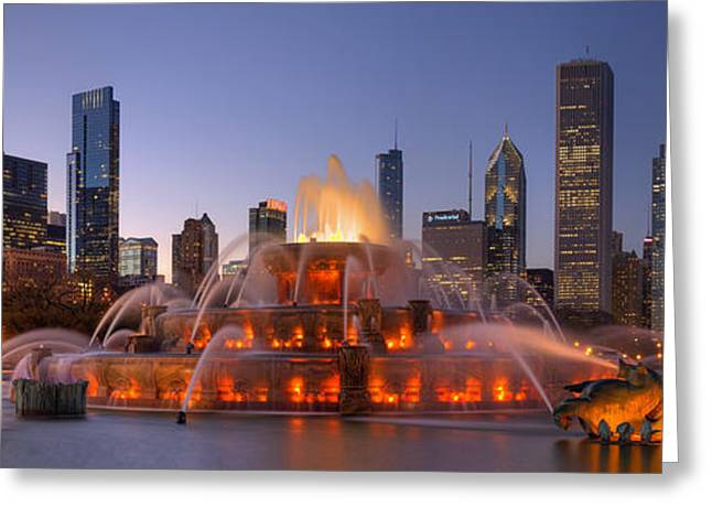 Buckingham Fountain In Chicago Greeting Card by Twenty Two North Photography