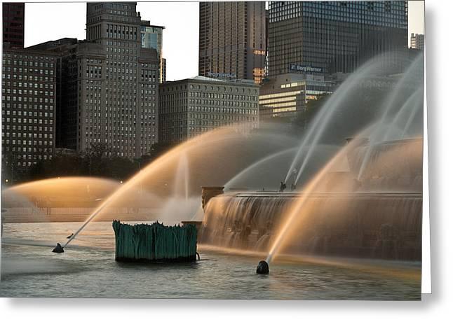 Buckingham Fountain Sidelight  Greeting Card by Steve Gadomski