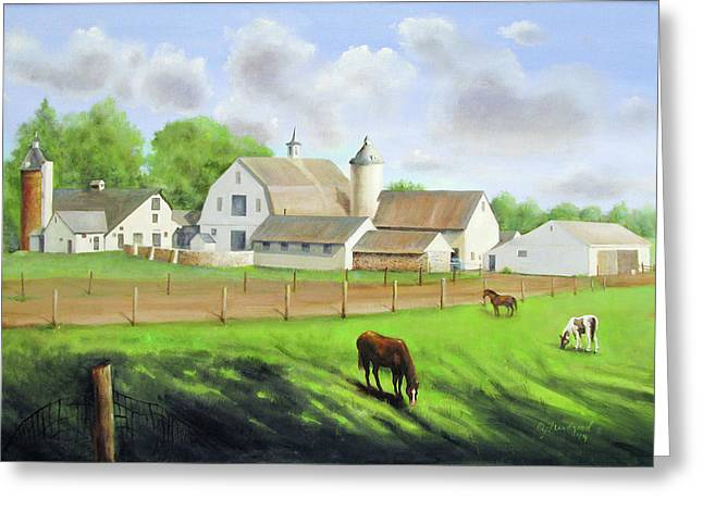 Greeting Card featuring the painting Buckingham Horse Farm by Oz Freedgood
