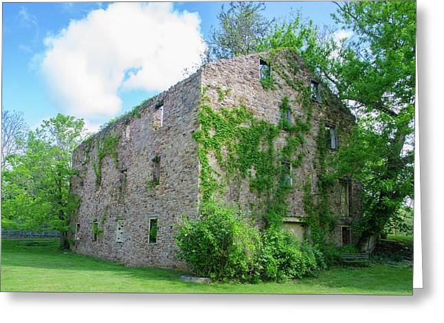 Greeting Card featuring the photograph Bucks County Pa - Bridgetown Millhouse Ruins by Bill Cannon