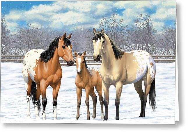 Greeting Card featuring the painting Buckskin Appaloosa Horses In Winter Pasture by Crista Forest