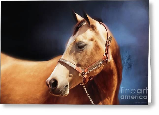 Buckskin On Blue Greeting Card by Michelle Wrighton