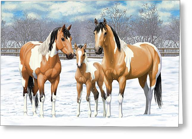 Greeting Card featuring the painting Buckskin Paint Horses In Winter Pasture by Crista Forest