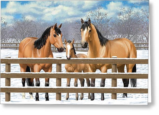 Buckskin Quarter Horses In Snow Greeting Card