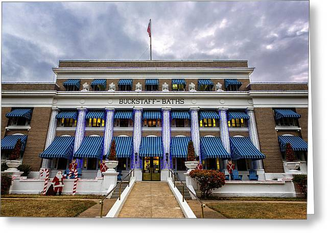Greeting Card featuring the photograph Buckstaff Bathhouse - Christmas by Stephen Stookey