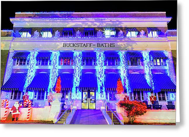 Greeting Card featuring the photograph Buckstaff Baths - Christmastime by Stephen Stookey