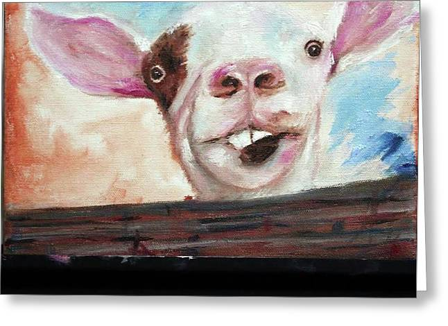 Bucktooth'd Goat Part Of Barnyard Series Greeting Card