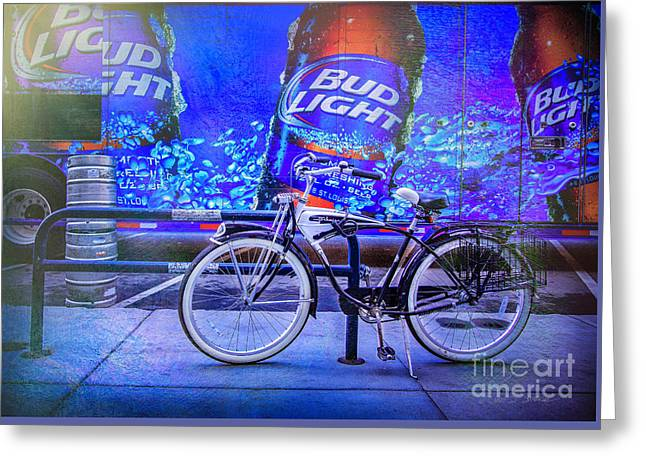Bud Light Schwinn Bicycle Greeting Card by Craig J Satterlee
