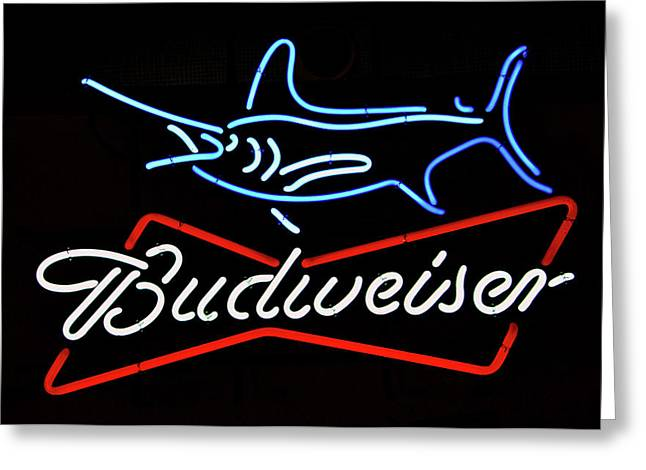 Bud Neon Fish Sign Fish Responsibly Greeting Card by David Lee Thompson