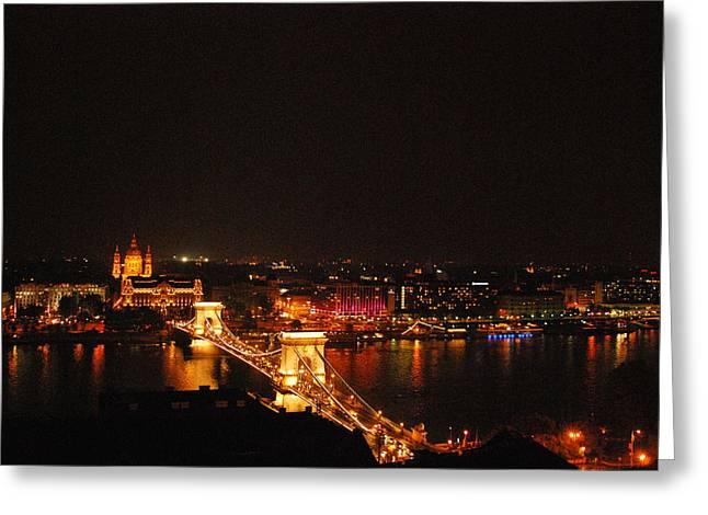 Budapest At Night Hungary Greeting Card by Eva Ramanuskas