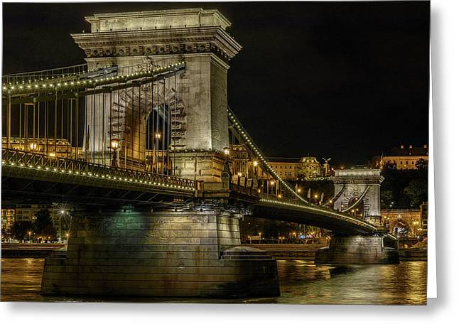 Greeting Card featuring the photograph Budapest Chain Bridge by Steven Sparks