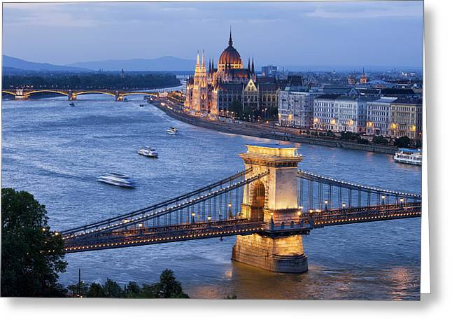 Budapest Cityscape At Dusk Greeting Card