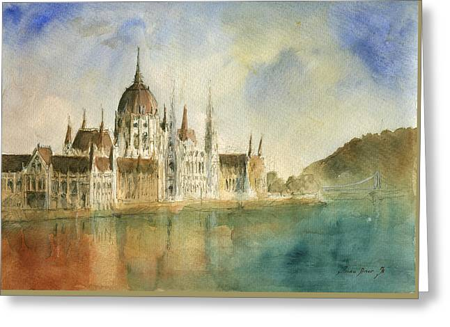 Budapest Cityscape Greeting Card by Juan Bosco