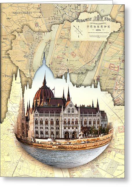 Budapest Globe Map Greeting Card