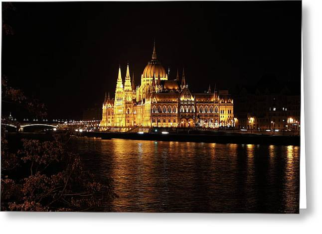 Greeting Card featuring the digital art Budapest - Parliament by Pat Speirs