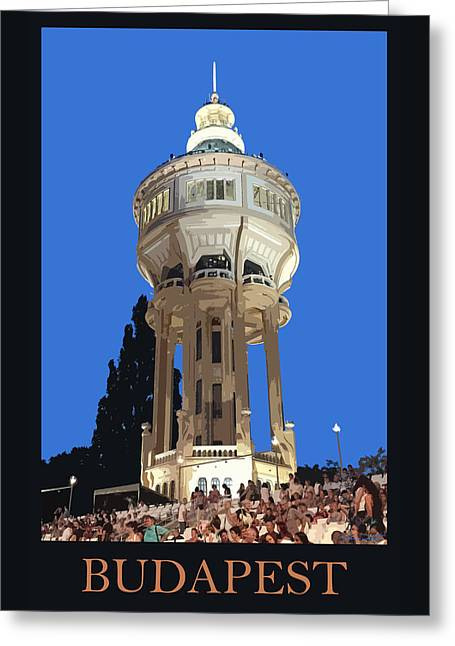 Budapest Poster - Margaret Island Water Tower Greeting Card by James Dougherty
