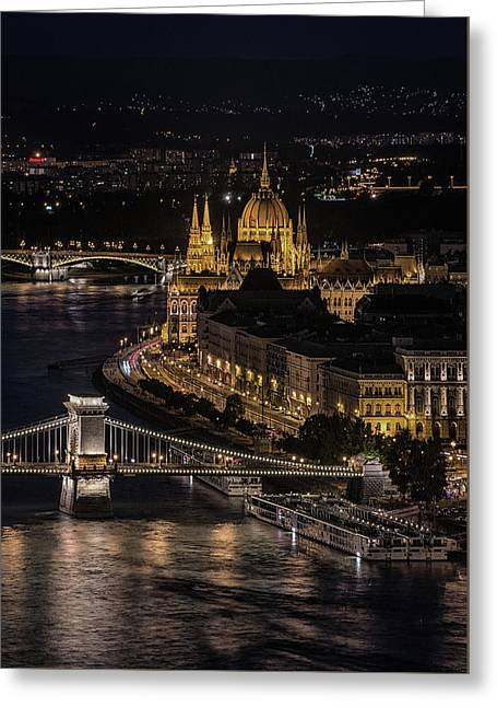 Budapest View At Night Greeting Card by Jaroslaw Blaminsky