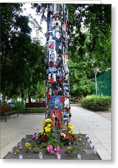 Budapest's Michael Jackson Memorial Tree Greeting Card by Barbie Corbett-Newmin