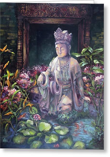 Budda Statue And Pond Greeting Card
