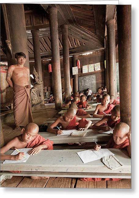 Greeting Card featuring the photograph Buddah School by Matthew Bamberg