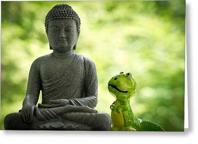 Buddha And Buddy Greeting Card by Edward Myers
