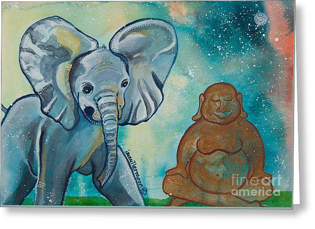Buddha And The Divine Baby Elephant No. 1376 Greeting Card by Ilisa Millermoon