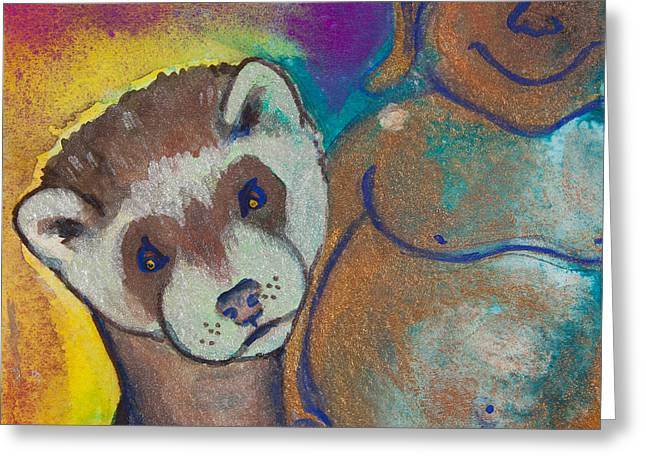Buddha And The Divine Ferret No. 1317 Greeting Card