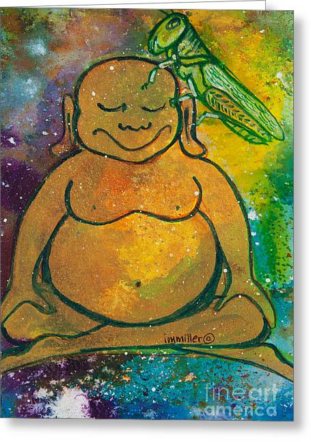 Buddha And The Divine Grasshopper No. 1309 Greeting Card by Ilisa Millermoon