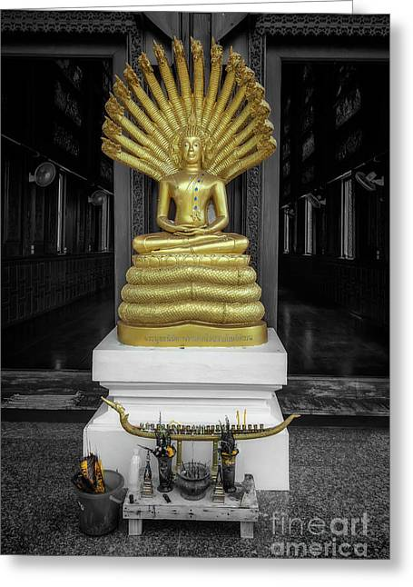 Buddha And Naga Greeting Card by Adrian Evans