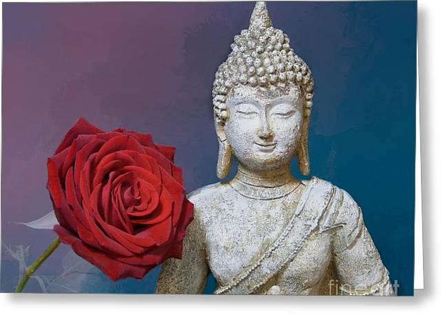 Buddha And Rose Greeting Card by Pete Trenholm