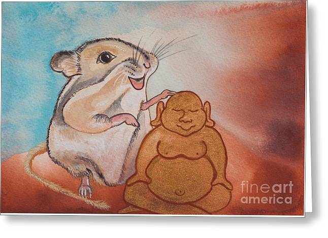 Buddha And The Divine Gerbil No. 2278 Greeting Card by Ilisa Millermoon