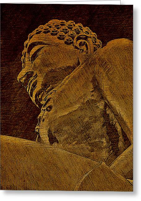 Buddha At The Golden Triangle - Sepia Sketch Greeting Card