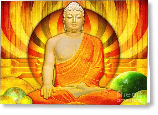 Buddha Balance Greeting Card by Khalil Houri