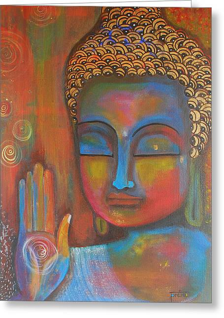Buddha Blessings Greeting Card by Prerna Poojara