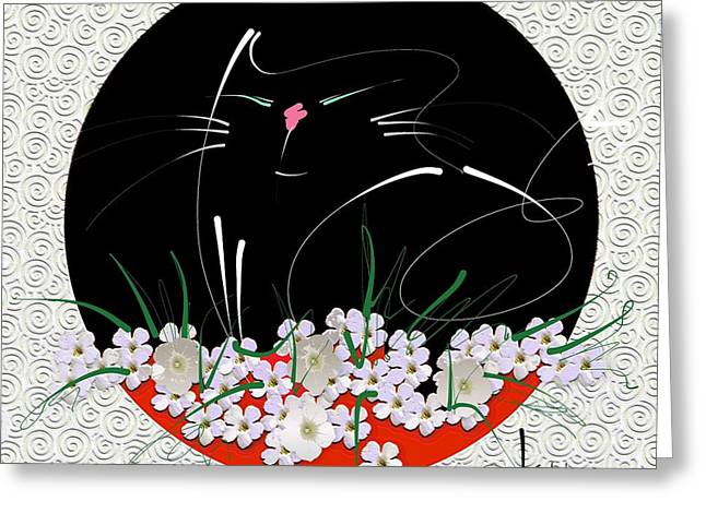 Greeting Card featuring the mixed media Buddha Cat by Larry Talley