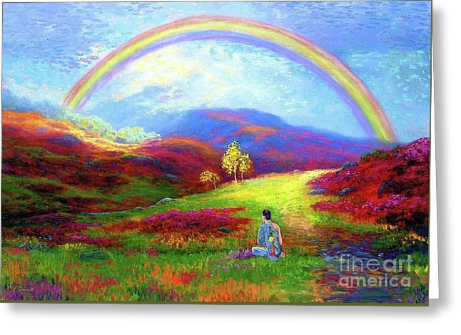 Buddha Chakra Rainbow Meditation Greeting Card by Jane Small