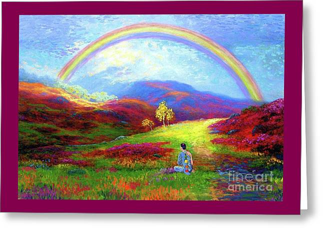 Buddha Chakra Rainbow Meditation Greeting Card by Jane Small