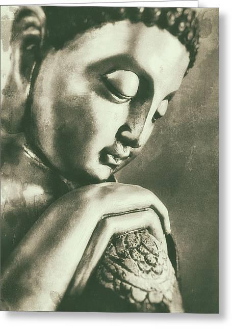 Buddha Close Sepia Greeting Card