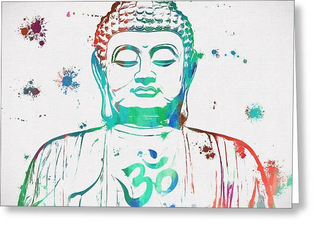 Buddha Color Paint Splatter Greeting Card by Dan Sproul