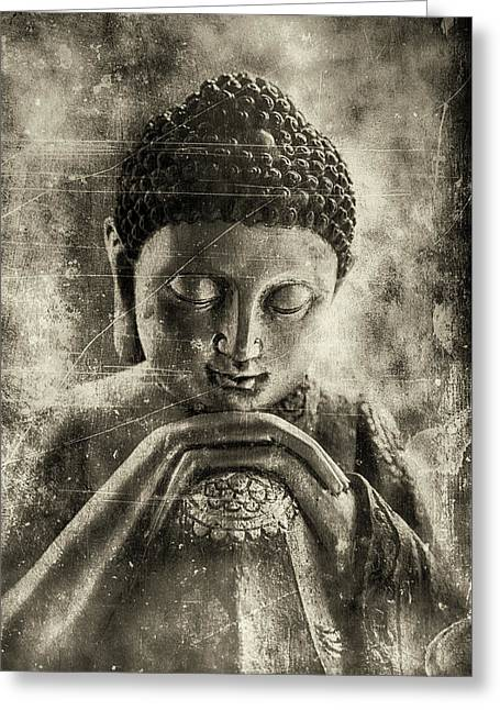 Buddha Dark Sepia Greeting Card