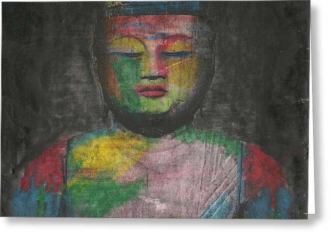 Buddha Encaustic Painting Greeting Card by Edward Fielding
