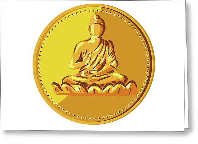 Buddha Gold Coin Medallion Retro Greeting Card by Aloysius Patrimonio