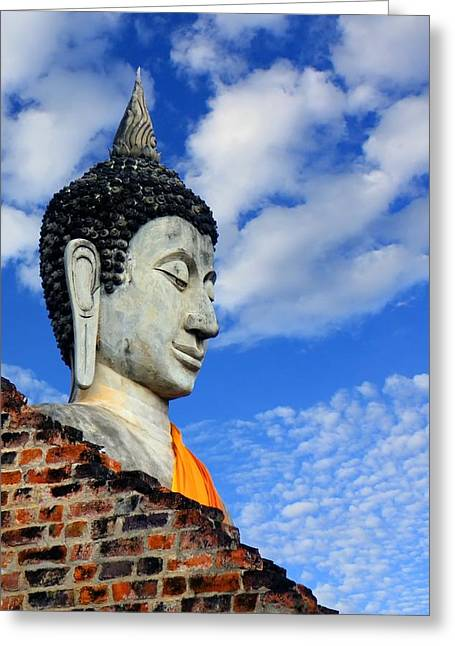 Best Sellers -  - Wooden Sculpture Greeting Cards - Buddha head shot with blue sky Greeting Card by Chaitawat Pawapoowadon