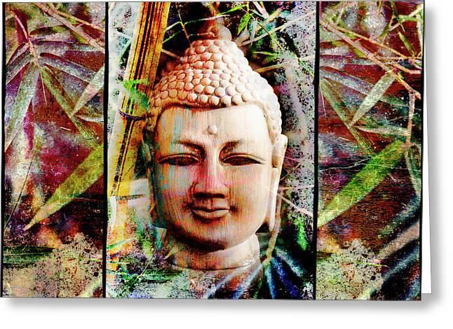 Buddha In Bamboo Greeting Card by Skip Nall