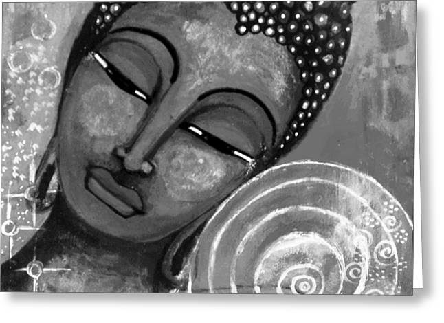 Buddha In Grey Tones Greeting Card by Prerna Poojara