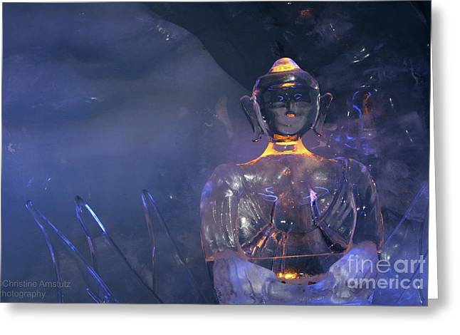 Buddha In Ice Greeting Card by Christine Amstutz
