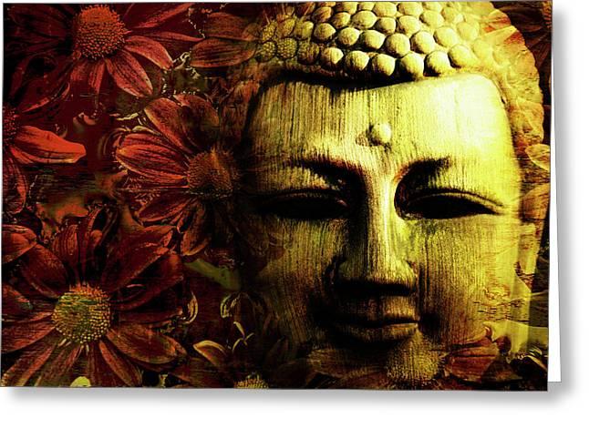 Buddha In Red Chrysanthemums Greeting Card by Skip Nall