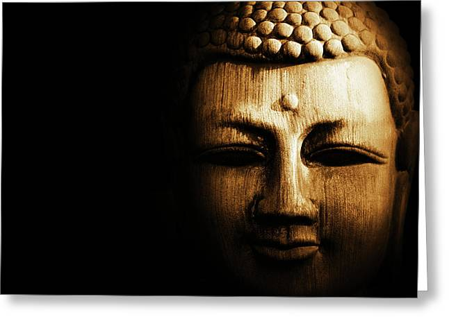 Buddha In Sepia Greeting Card by Skip Nall