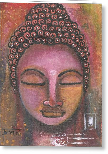 Greeting Card featuring the mixed media Buddha In Shades Of Purple by Prerna Poojara