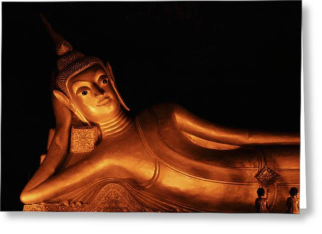 Buddha In Wat Suwanhuha Greeting Card